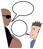 Characters talking. Bullet type as two characters talking Royalty Free Stock Image