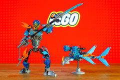 The characters (toys) universe of Lego Bionicle - Gali, Uniter of Water and Akida, Creature of Water. BERLIN - JUNE 17, 2016: The characters (toys) universe of royalty free stock photo