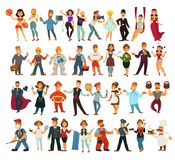 Characters of various professions big isolated illustrations set royalty free illustration