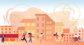 Characters Walking in Modern City at Summertime. stock illustration