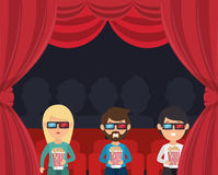 Characters watching 3d film cinema Stock Image