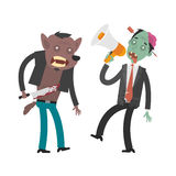 Characters werewolf and zombies Royalty Free Stock Photography