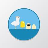 charakterów rozochoconych kurczaka Easter rodzinnych powitań szczęśliwa ilustracyjna pocztówka symbolizuje Obrazy Royalty Free