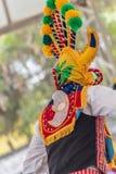 Charakter Andyjski folklor dzwonił Diabła huma z maską dwa twarzy i kolorowego projekt, fotografia stock