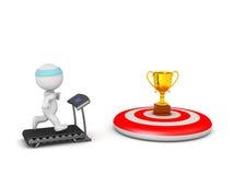 Charakter 3D, der auf Tretmühle mit Ziel auf Ziel rüttelt Stockbilder