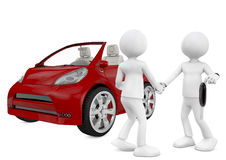 Charakter 3d, der das Auto verkauft. Lokalisiert auf weißem Hintergrund. Lizenzfreie Stockfotografie