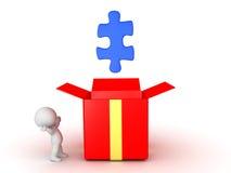 Charakter 3D, der das Puzzlespielstück auftaucht aus Geschenkbox heraus betrachtet stock abbildung
