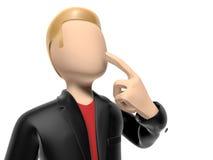 Charakter 3D, der an etwas denkt Lizenzfreies Stockbild