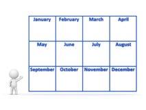 Charakter 3D, der Jahr-Kalender mit 12 Monaten zeigt Stockbild