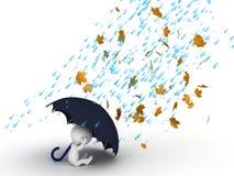Charakter 3D, der unter Regenschirm vom Wind und vom Regen sich versteckt Lizenzfreie Stockbilder