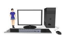Charakter 3d, Frau und ein Computer/ein Desktop vektor abbildung