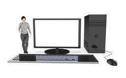 Charakter 3d, Frau und ein Computer/ein Desktop Lizenzfreie Stockfotos