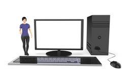 Charakter 3d, Frau und ein Computer/ein Desktop Stockfotos