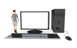 Charakter 3d, Frau und ein Computer/ein Desktop Lizenzfreies Stockfoto
