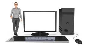 Charakter 3d, Frau und ein Computer/ein Desktop lizenzfreie abbildung