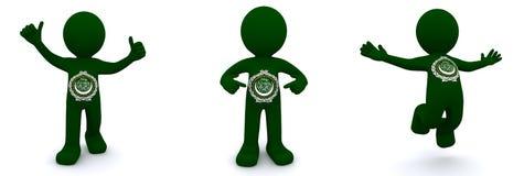 Charakter 3d gemasert mit Flagge der Liga von arabischen Staaten Lizenzfreie Stockfotografie