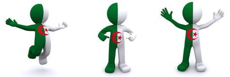 Charakter 3d gemasert mit Flagge von Algerien Stockbilder