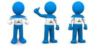 Charakter 3d gemasert mit Flagge von Nicaragua Lizenzfreies Stockbild