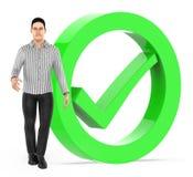 Charakter 3d, Männer und Zecke markieren das Zeichen, das durch einen Kreis - Wiedergabe 3d gesprungen wird lizenzfreie abbildung
