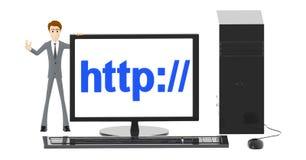 Charakter 3d, Mann und Computer mit http://-Text angezeigt auf Bildschirm stock abbildung