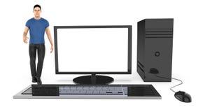 Charakter 3d, Mann und ein Computer/ein Desktop stock abbildung