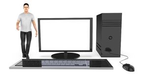 Charakter 3d, Mann und ein Computer/ein Desktop vektor abbildung
