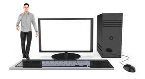 Charakter 3d, Mann und ein Computer/ein Desktop lizenzfreie abbildung