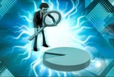 Charakter 3d mit Lupen- und Kreisdiagrammillustration Stockfoto
