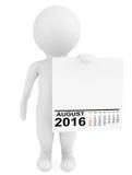 Charakter, der Kalender im August 2016 hält Wiedergabe 3d Stockbild