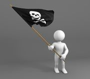 Charakter, der Schädel- und Knochensymbolflagge hält Stockbild