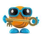 Charakter des Basketballs 3d, der einen Goldschlüssel hält Stockfotografie