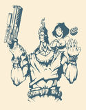 Charakter des bewaffneten Mannes mit Frau Stockbild