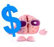 Charakter des Gehirns 3d hält US-Dollar Symbol vektor abbildung