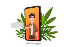 Charakter des jungen Mannes auf Smartphoneschirm stock abbildung