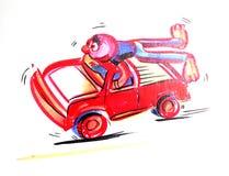 Charakter des roten Mannes auf einem roten Auto Stockfoto