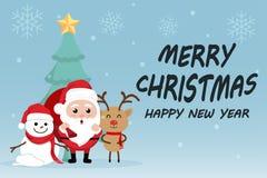 Charakter-Karikatur-netter Weihnachtstag, guten Rutsch ins Neue Jahr-Festival der frohen Weihnachten, Weihnachtsmann mit Geschenk Stockfoto