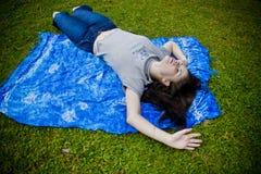 charakter kobiety relaksująca fotografia stock