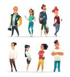 Charakter kolekcja powabni młodzi ludzie Ucznie różne narodowości w kreskówka stylu Wektorowy designe royalty ilustracja