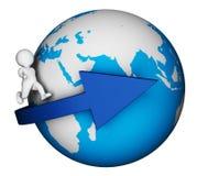 Charakter kula ziemska Wskazuje Globalnego Ziemskiego I mężczyzna 3d rendering Obrazy Stock