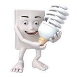 Charakter mit energiesparender Birne stock abbildung
