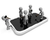 Charakter naprawa Wskazuje diagnostyków mężczyzna I telefonu komórkowego 3d renderingu Obrazy Stock