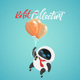 Charakter nett in der flachen Art Lustiger Karikaturroboter mit Ballonen Lizenzfreie Stockbilder