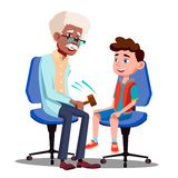 Charakter-Neurologe, der Jungen-Reflexvektor überprüft stock abbildung