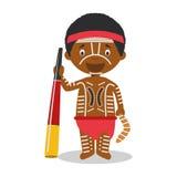 Charakter od Australia aborygenu ubierał w tradycyjnym sposobie z didgeridoo ilustracji