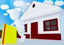 Charakter opiera reklamowa deska przed domem Zdjęcie Stock