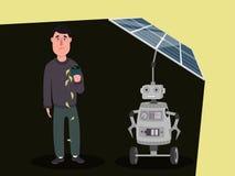 Charakter robot z sztuczną inteligencją ładuje panel słoneczny, blokuje słońce od osoby royalty ilustracja