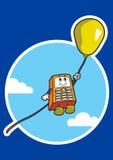 Charakter steigt in einem Himmel auf Luftballon an Stockbilder