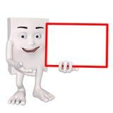 Charakter trzyma białą deskę Zdjęcia Royalty Free