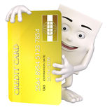 Charakter trzyma kredytową kartę Zdjęcie Royalty Free