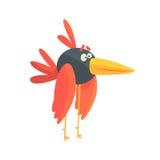 Charakter-Vektor Illustration des netten kleinen lustigen langen mit Beinen versehenen Vogels bunte Stockfoto